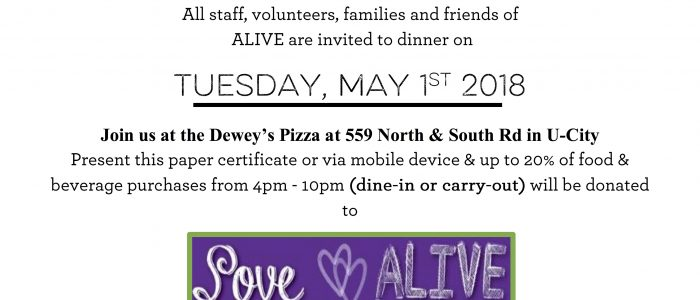 Tuesday, May 1- Give Back Night at Dewey's in U City